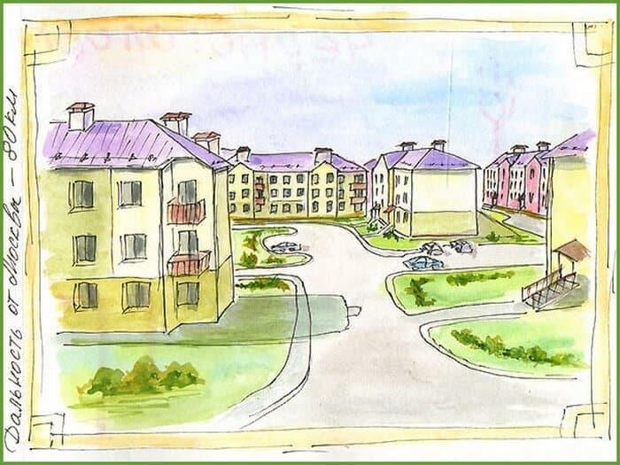 рисунки домов, альбом для зарисовок