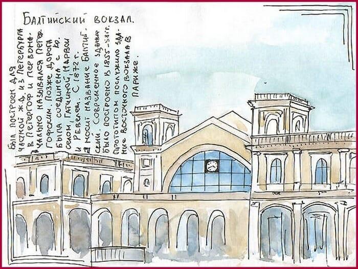 страницы артбука, городские зарисовки