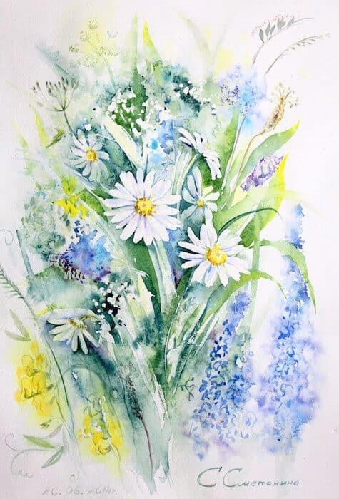 цветы в акварели, Марина Трушникова