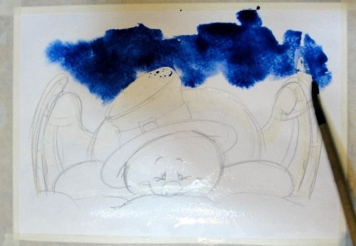 Мастер-класс, рисуем снеговика акварелью