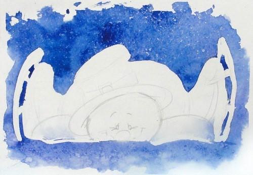 Акварельный снеговик, доюбавляем соль