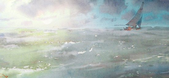 """The low sun, the fresh wind"" watercolor on paper, 21 x 50, 2015"