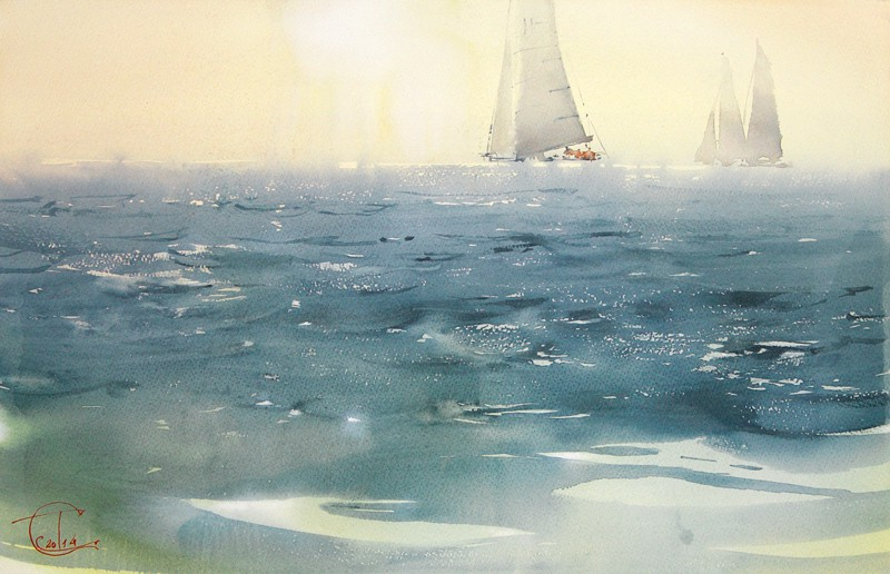 """The glare on the water"" watercolor on paper, 35 x 56, 2014"
