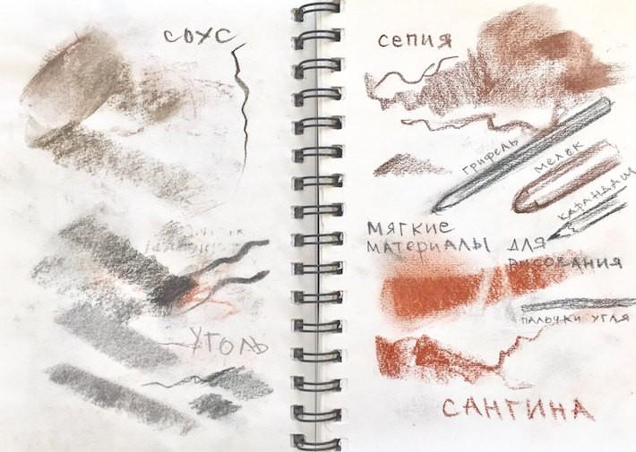материалы для рисования уголь сангина соус сепия