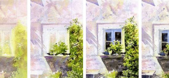 как нарисовать окно акварелью