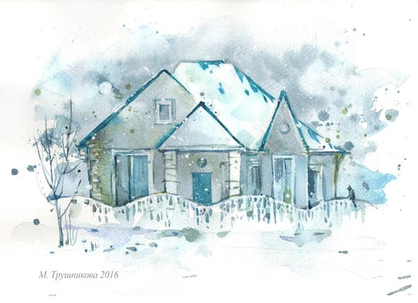 sketch winter house