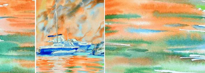 морской пейзаж с яхтами, акварель