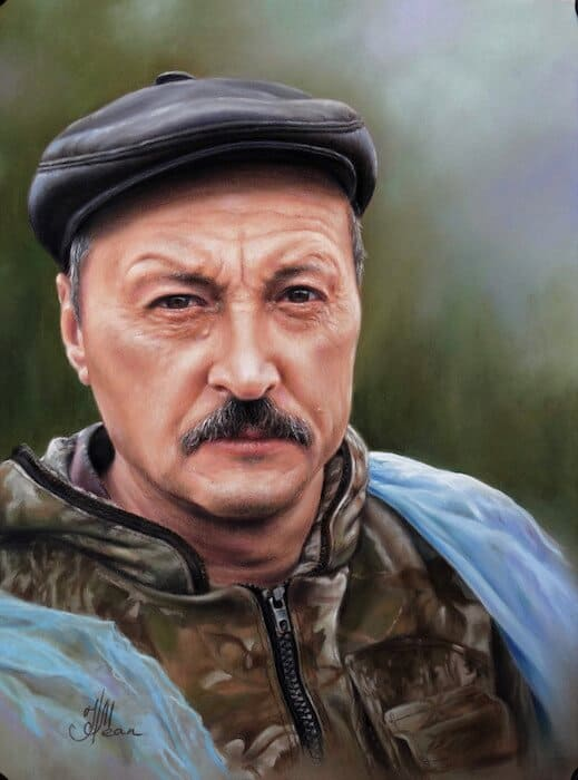 мужской портрет, пастель