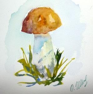 как нарисовать гриб акварелью