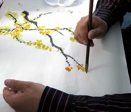 рисование цветов жасмина, китайская живопись