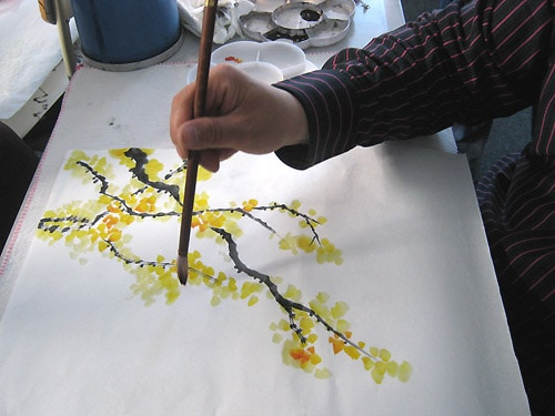 мастер-класс по китайской живописи, ветвь жасмина
