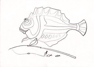 рисуем рыбу карандашом