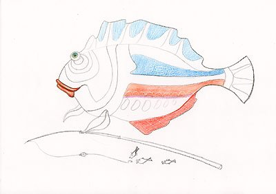 рыбка цветными карандашами