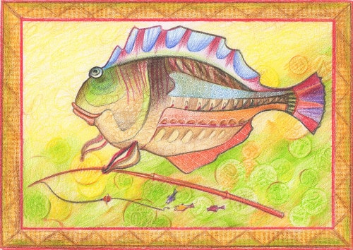 рыба цветными карандашами
