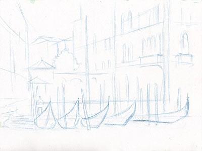 venecia1 зарисовка акварельными карандашами