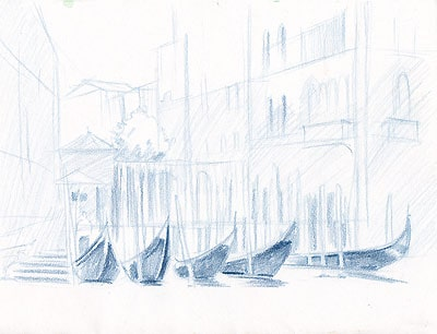 venecia2 пейзаж акварельные карандаши