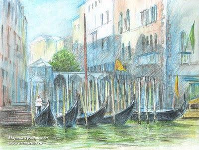 """""""Стоянка гондол. Венеция"""", 2011г. бумага, акварельные карандаши, 18х24 см."""