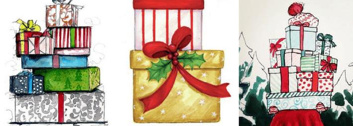что рисовать на новогодних открытках