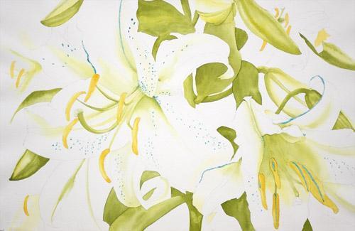 Как писать белые лилии акварелью