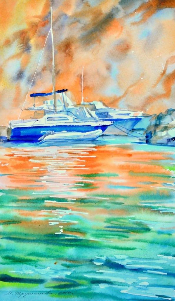 морской пейзаж с яхтами, Редона, Прованс