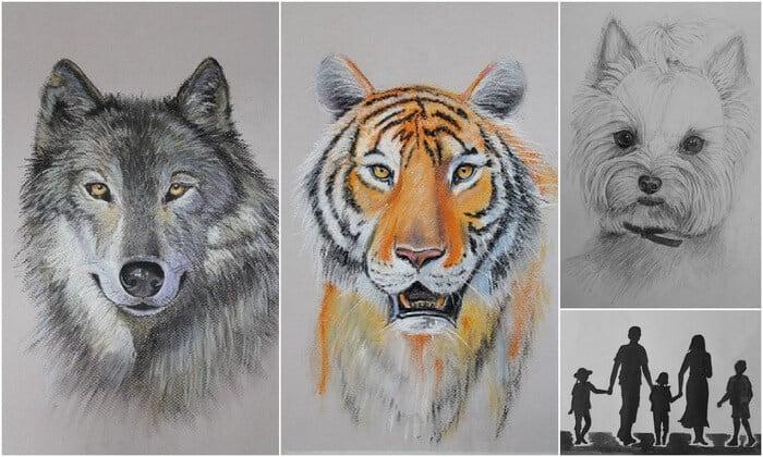 рисование животных, волк, тигр, собака