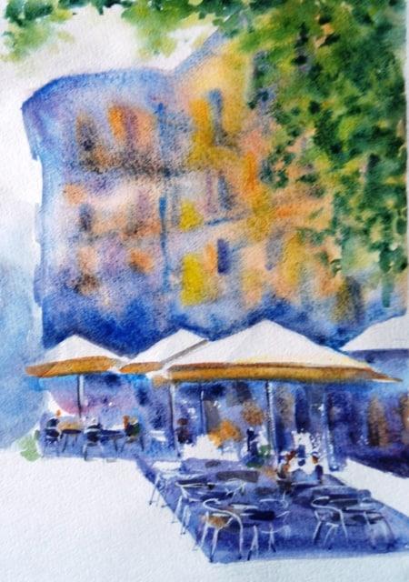 Город в акварели живопись