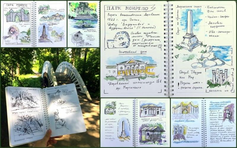 пленэр в Выборге, зарисовки в парке Монрепо, архитектурный скетчбукинг, Выборг