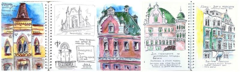 архитектурный скетчбукинг, Выборг, зарисовки архитектуры, эклектика