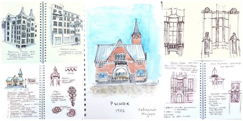 архитектурный скетчбукинг, Выборг, скетчи зданий северный модерн