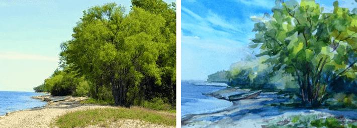 акварель, пейзаж, Байкал