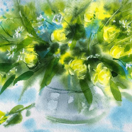 букет цветов акварелью марина трушникова