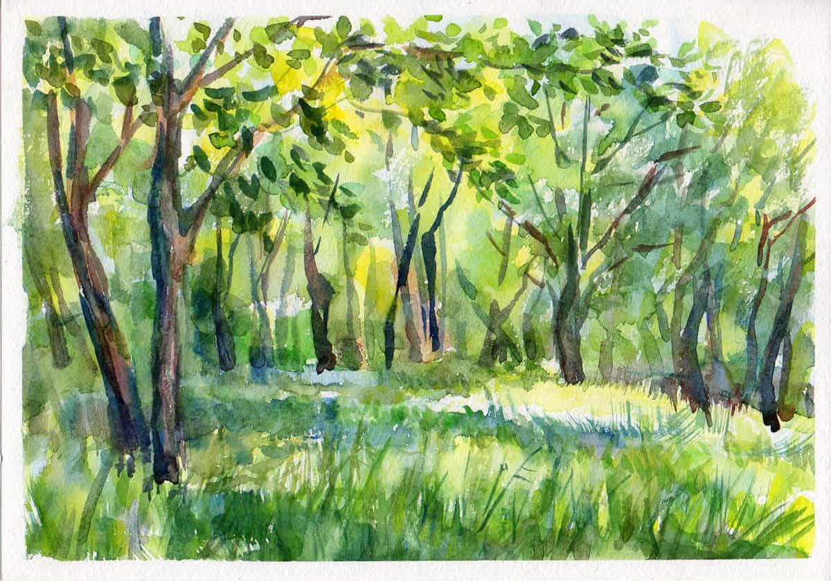 как нарисовать пейзаж акварелью