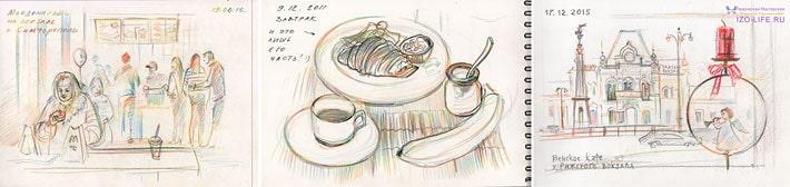идей скетчбукинга, зарисовки в кафе