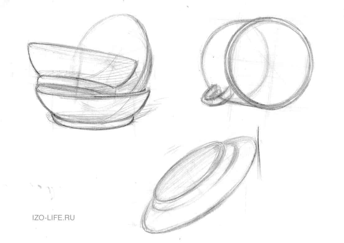как рисовать лежащие объекты