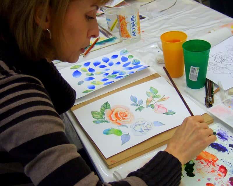 как нарисовать розу, акварель