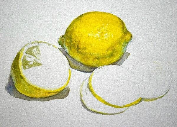 Как нарисовать лимоны акварелью, фрукты акварелью