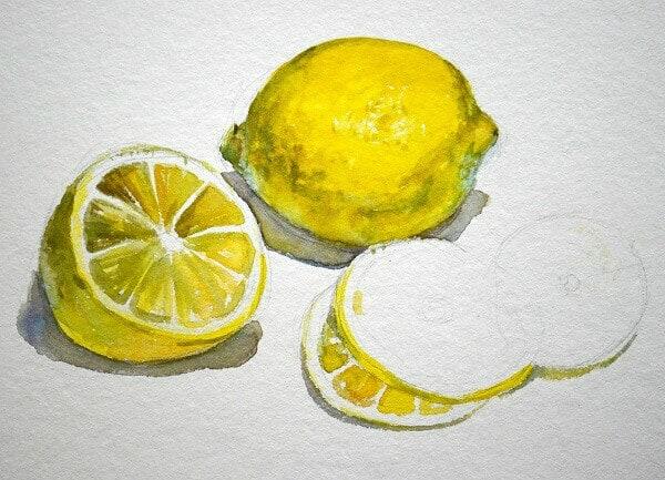 фрукты акварелью, Лимонный мастер-класс Марины Трушниковой