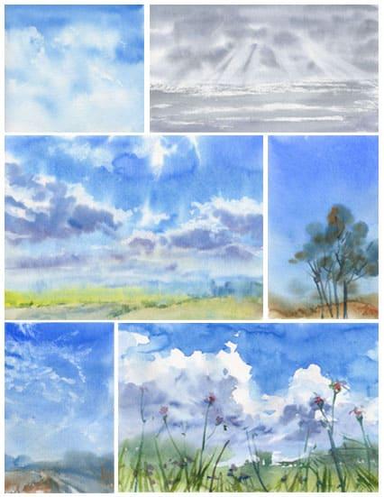 пишем небо облака акварелью