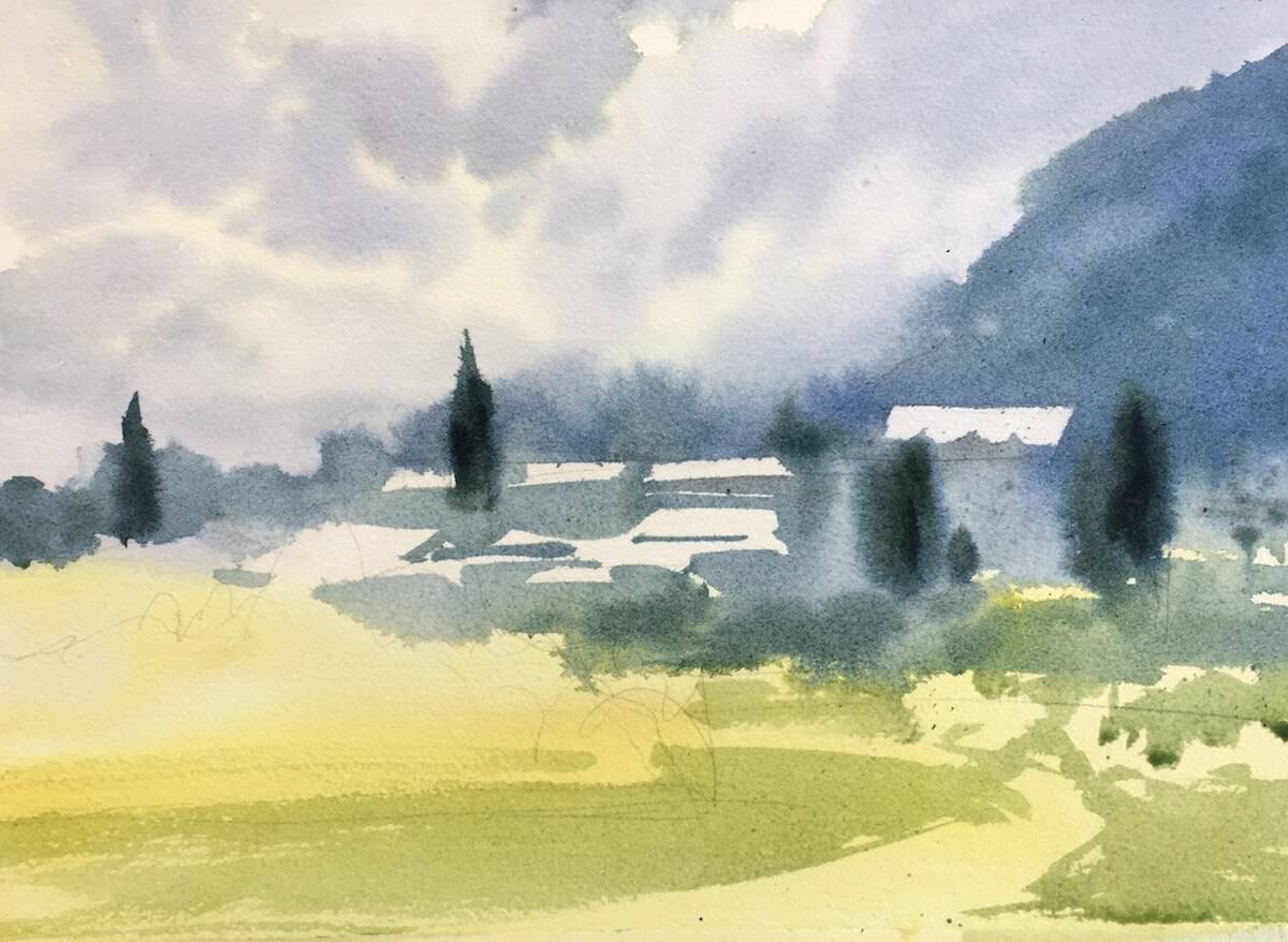пейзаж акварелью мастер класс