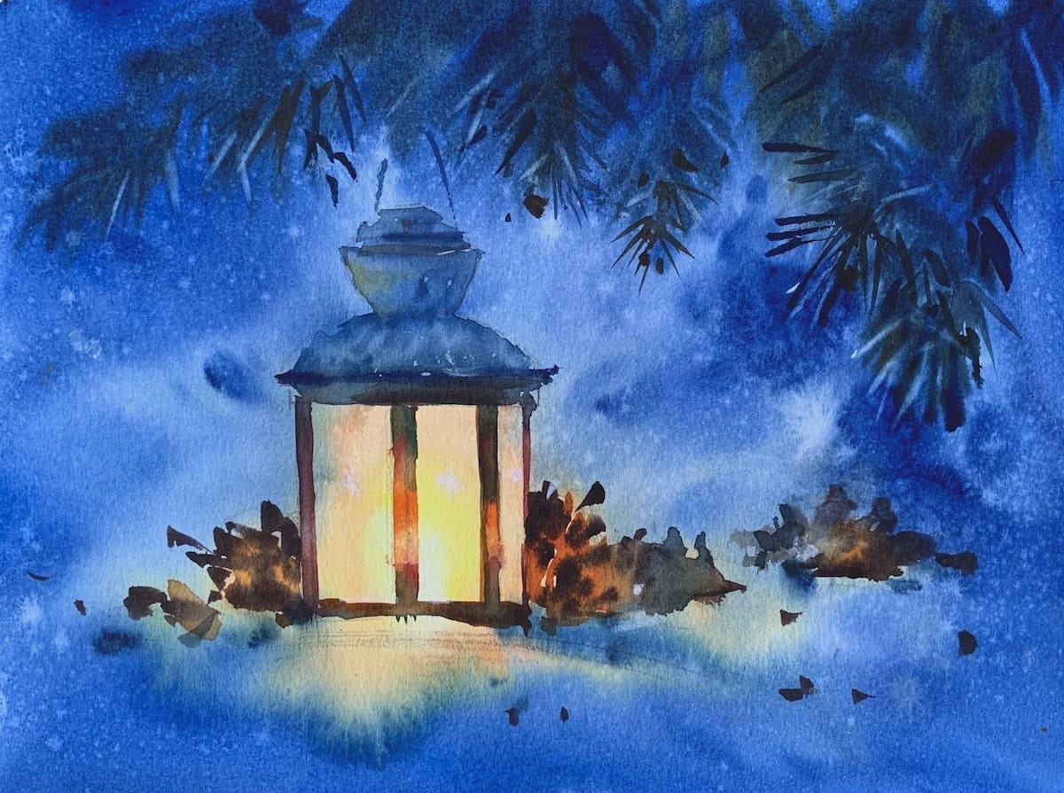 новогодний фонарь акварелью, акварель, рисуем свет в акварели, Марина Трушникова, мастер-класс рисования акварелью