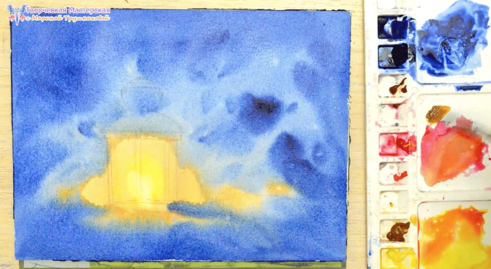 фонарь акварелью