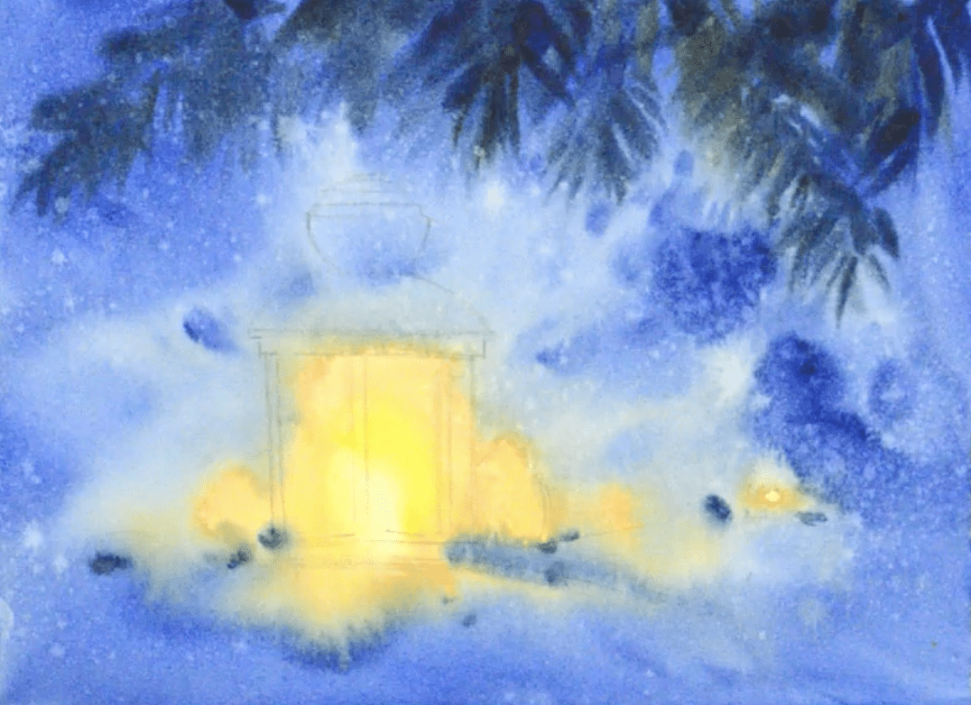 новогодний фонарик акварелью