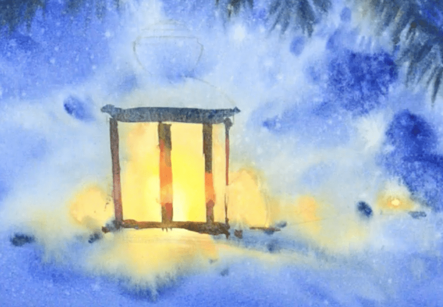 новогодний фонарик рисуем акварелью