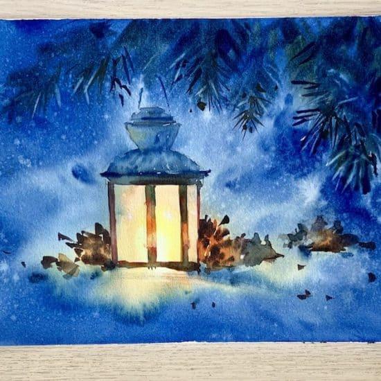 новогодний фонарь акварелью