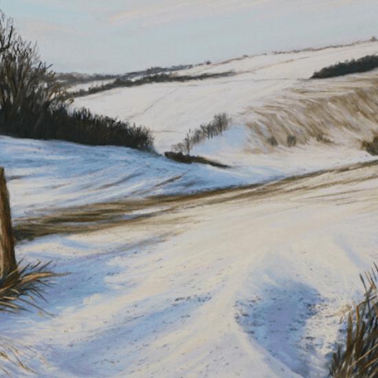 зимний пейзаж пастелью