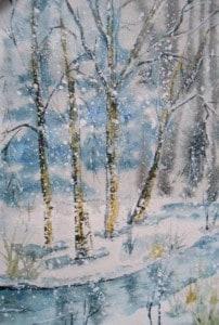 рисуем зимний пейзаж