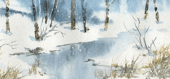 зимний пейзаж, акварель