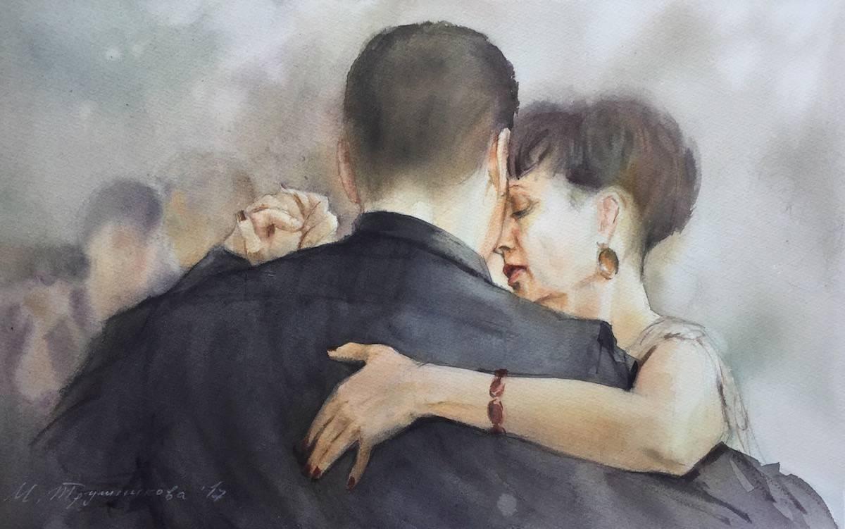 портрет Лилии, Марина Трушникова акварель танго-портреты
