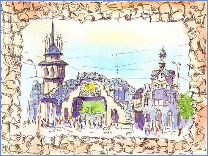 зоопарк, москва, рисунок карандашом