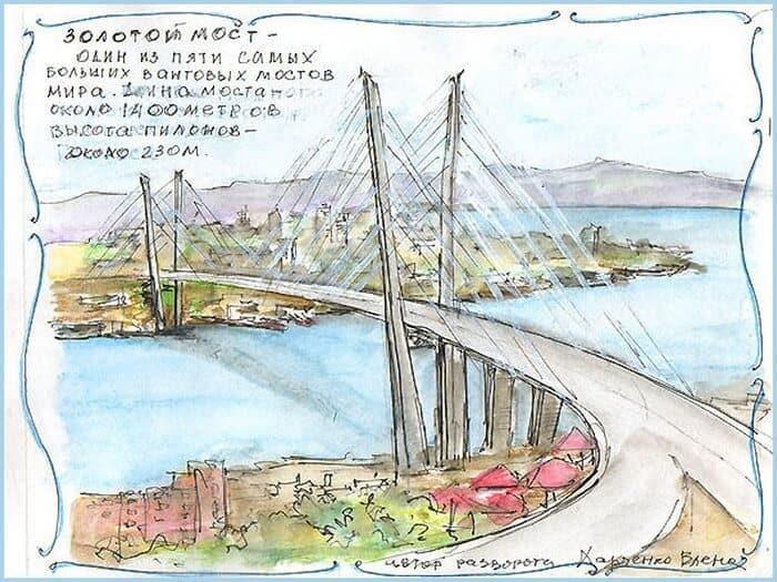 мост, скетч, скетчбук